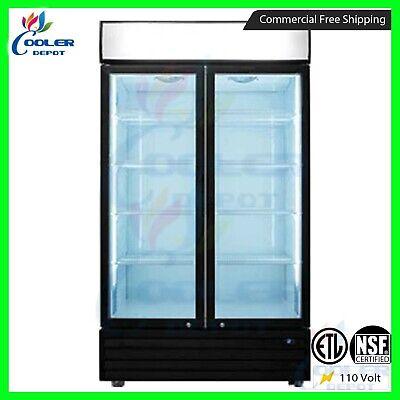 48 Commercial 2 Swing Glass Door Merchandiser Refrigerator Cooler Depot New