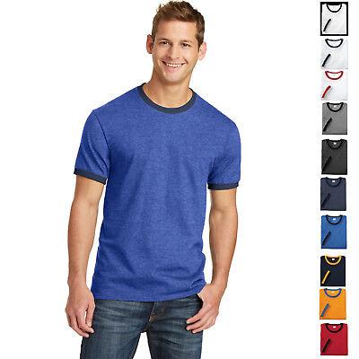 Mens T-Shirt PreShrunk Cotton Ringer Tee S, M, L, XL, 2XL, 3XL, 4XL Retro Ringer - Mens Cotton Ringer Tee