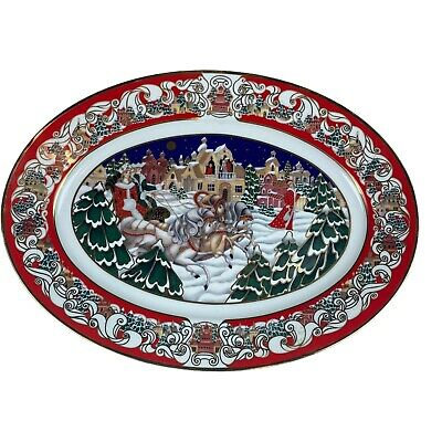 House of Faberge Winter Festival Porcelain Christmas Holiday Oval Plate No 402