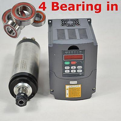 Four Bearing 65mm 1.5kw Er11 Water-cooled Spindle Motor Vfd Drive Inverter