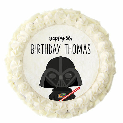 """1 x PERSONALISED 7.5"""" Star Wars Birthday Party Rice Paper Edible Cake Topper"""