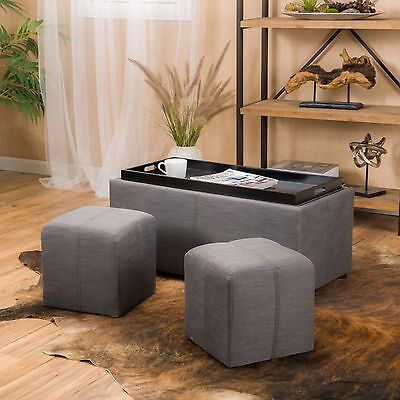 Contemporary Grey 3-piece Fabric Tray Top Nested Storage Ottoman Bench