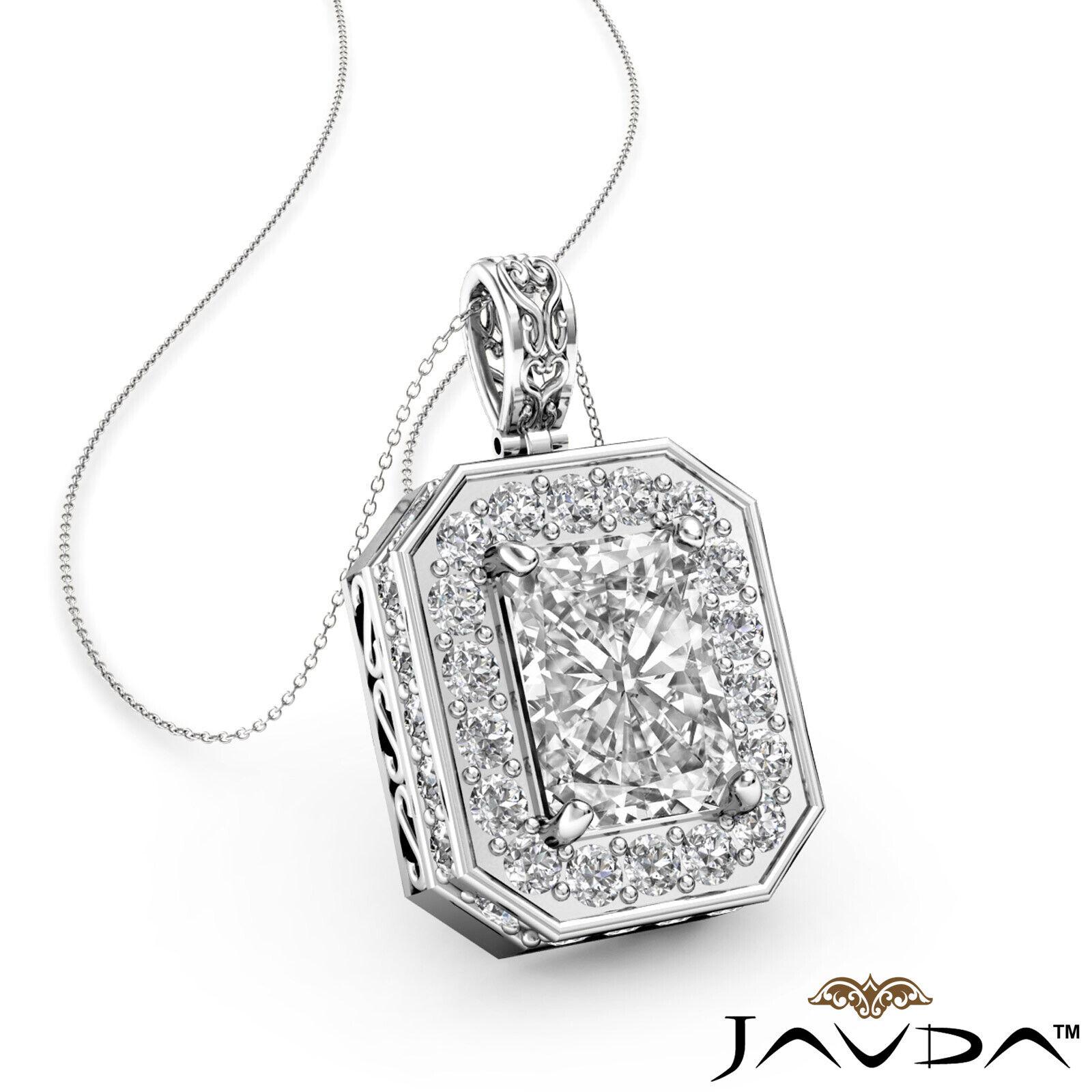 1.11ctw Circa Halo Pave Set Radiant Natural Diamond Filigree Pendant Necklace