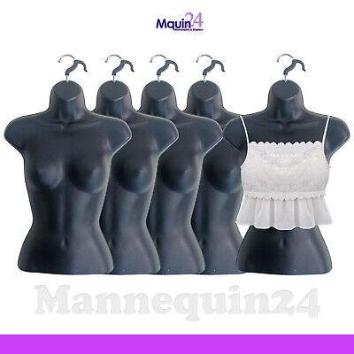 5 Mannequin Female Torsos - Lot Of 5 Black Plastic Womens Hanging Dress Forms