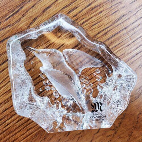 Mats Jonasson Sweden Clear Bird Hummingbird Lead Crystal Art Glass Paperweight