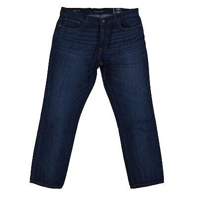 Tommy Hilfiger Mens Jeans Straight Fit Denim Bottoms Dark Wash 34x30 Damaged New