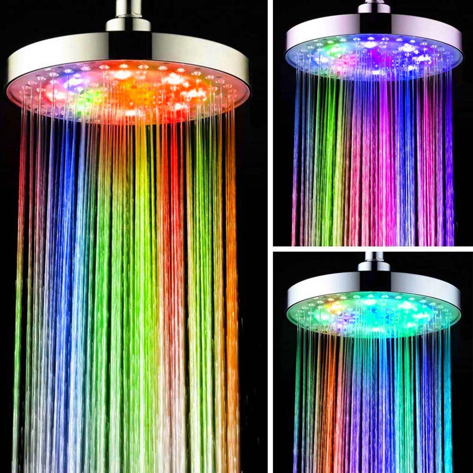 XXL LED Duschkopf 20cm Kopfbrause Rund Regenbrause Duschbrause 7 Farben Wechsel