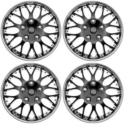 "SET 4 Piece Hub Caps ICE BLACK / CHROME TRIM 14"" Inch Rim Wheel Covers Cap Cover"