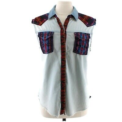 Kendall & Kylie Women's Chambray Western Sleeveless Shirt Vest Cut Outs Sz Large - Western Cut Outs