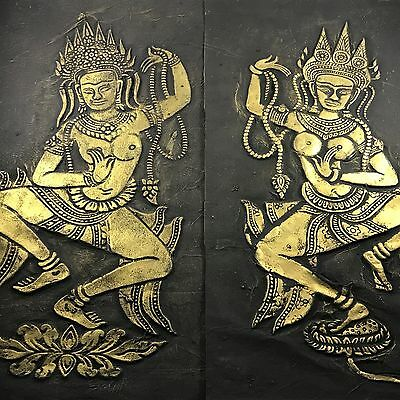 Pair of Vintage/Antique? Charcoal & Brass Temple Rubbings~Cambodia~Nude Dancers