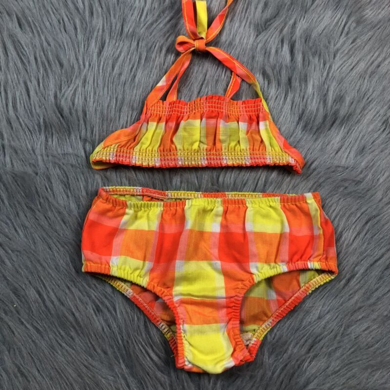 Vintage Baby Girls 70s Orange Yellow Plaid Checkered Cotton Bikini Swimsuit