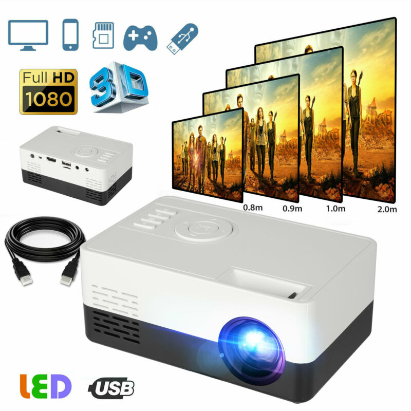 1080p Full HD LED Portable Mini Projector Smart Home Theater Cinema HDMI AV USB