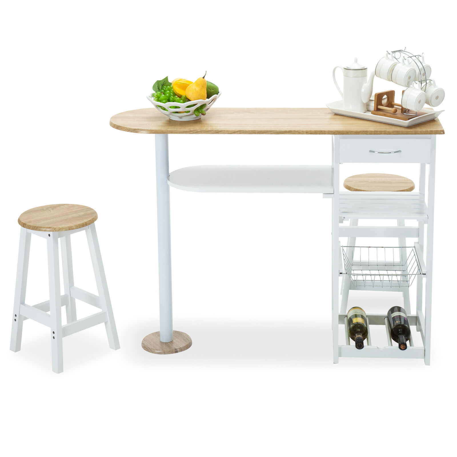 Kitchen Island Tables With Stools: Kitchen Island Cart Trolley Dining Table Storage 2 Bar