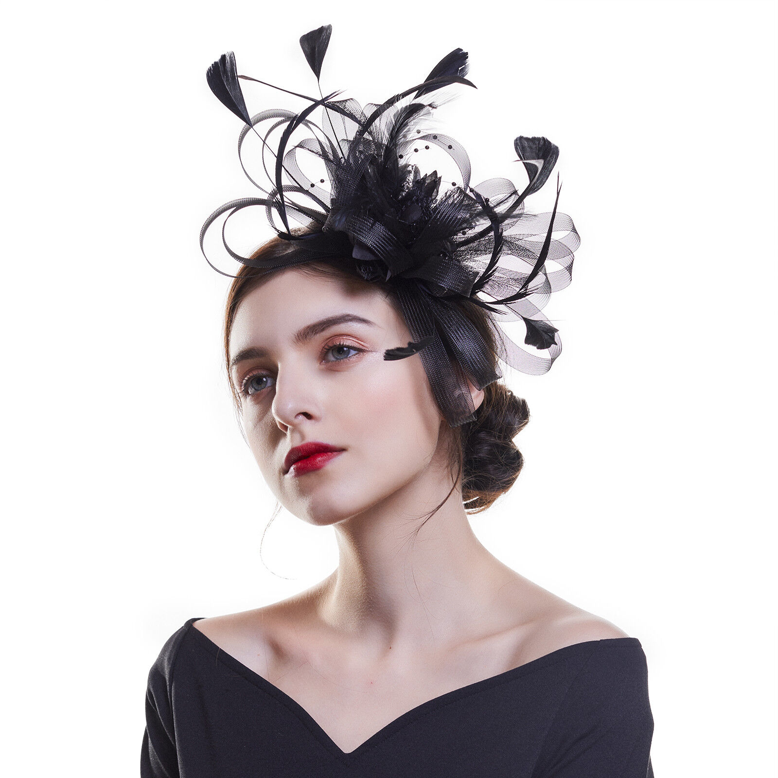 3f911a2200475e Details about Fascinator Feather Cocktail Fascinators Headband Clip Royal  Ascot Races Party