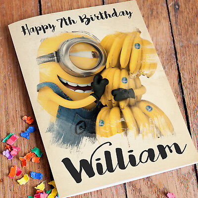 MINIONS Personalised Birthday Card FREE Shipping | Son Daughter Girls Boys