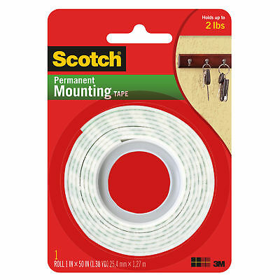3m Scotch 114 Permanent Mounting Tape Indoor 1 In. X 50 In. White