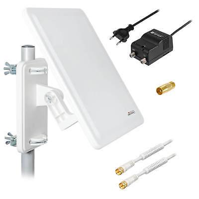 Full HD DVB-T2 Außenantenne AKTIV + 64 dB Antenne ax800 + 10m  Kabel+IEC Stecker