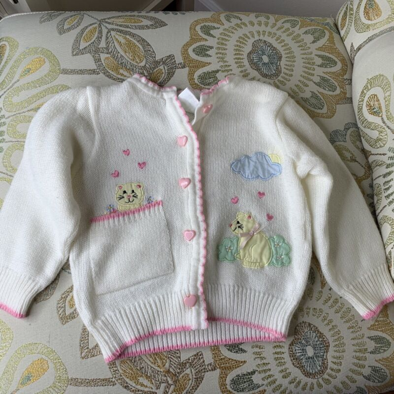 Vintage Baby Kisses Girl Cat Kitty Sweater Pink Hearts White Pastel Sz 18M