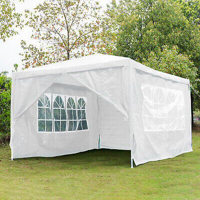 3Mx4M Heavy Duty Gazebo Sides Waterproof Marquee Canopy Wedding Party Tent White