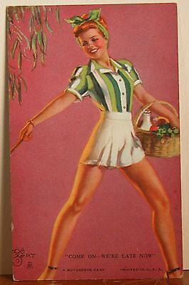 Zoe Mozert Pinup Mutoscope Card Red Head Come On - We're Late Now