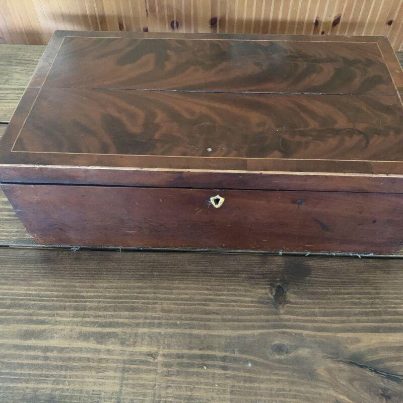 Antique Wood Folding Portable Travel Writing Lap Desk Document Box Case