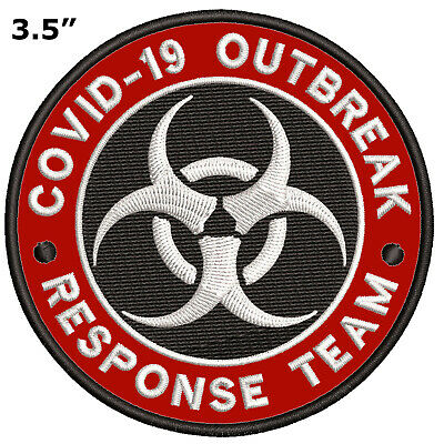BIOHAZARD SYMBOL embroidered iron-on PATCH BLACK WARNING LOGO ZOMBIE APOCALYPSE