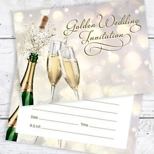 Golden wedding invitations ebay golden wedding anniversary invitations ready to write inc envelopes pack 10 junglespirit Images