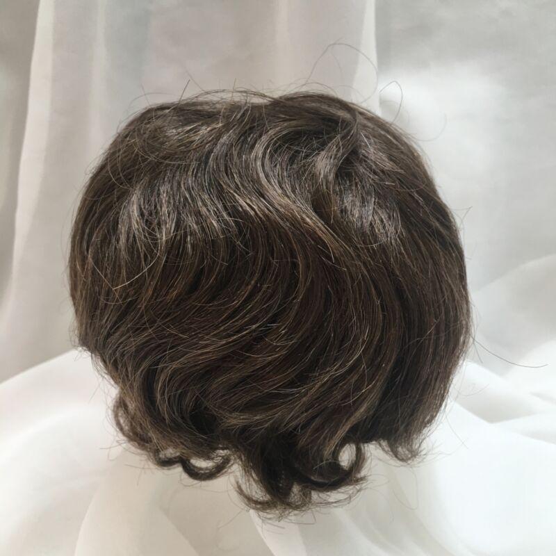 """12"""" Short Wavy Curls Brown Doll Wig Reborn OOAK BJD Bisque Repair 201"""