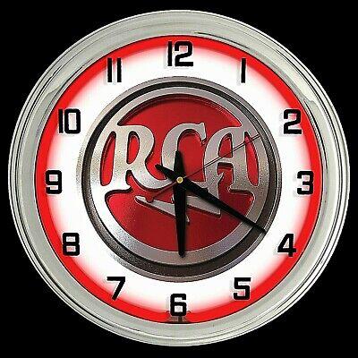 "16"" RCA Radio Vintage Look Sign Red Neon Clock Man Cave Garage Bar Shop"