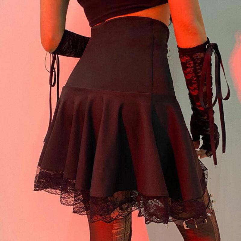 Women Punk Lace-up Goth Y2K Side Zip Flared Pleated Mini Skater Skirt Streetwear