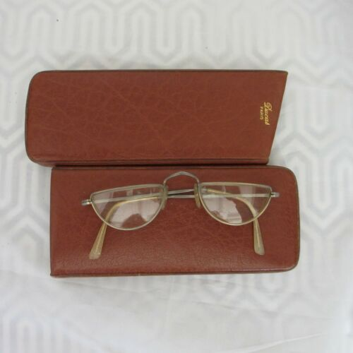 Antique Reading Glasses Made in England in Ducas Paris Leather Case