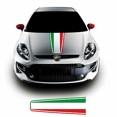 Italian Flag Bonnet Stripe For Fiat Punto Evo Abarth Vinyl Decal Sticker...