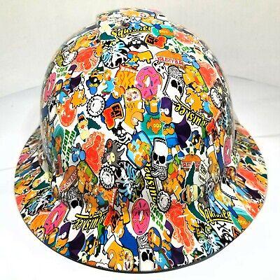 Hard Hat Full Brim Custom Hydro Dipped Osha Approved  Simpsons Sticker Bomb