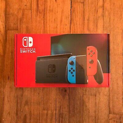 New Sealed Nintendo Switch 32GB Console, Neon Red/Neon Blue Joy-Con, HADSKABAA