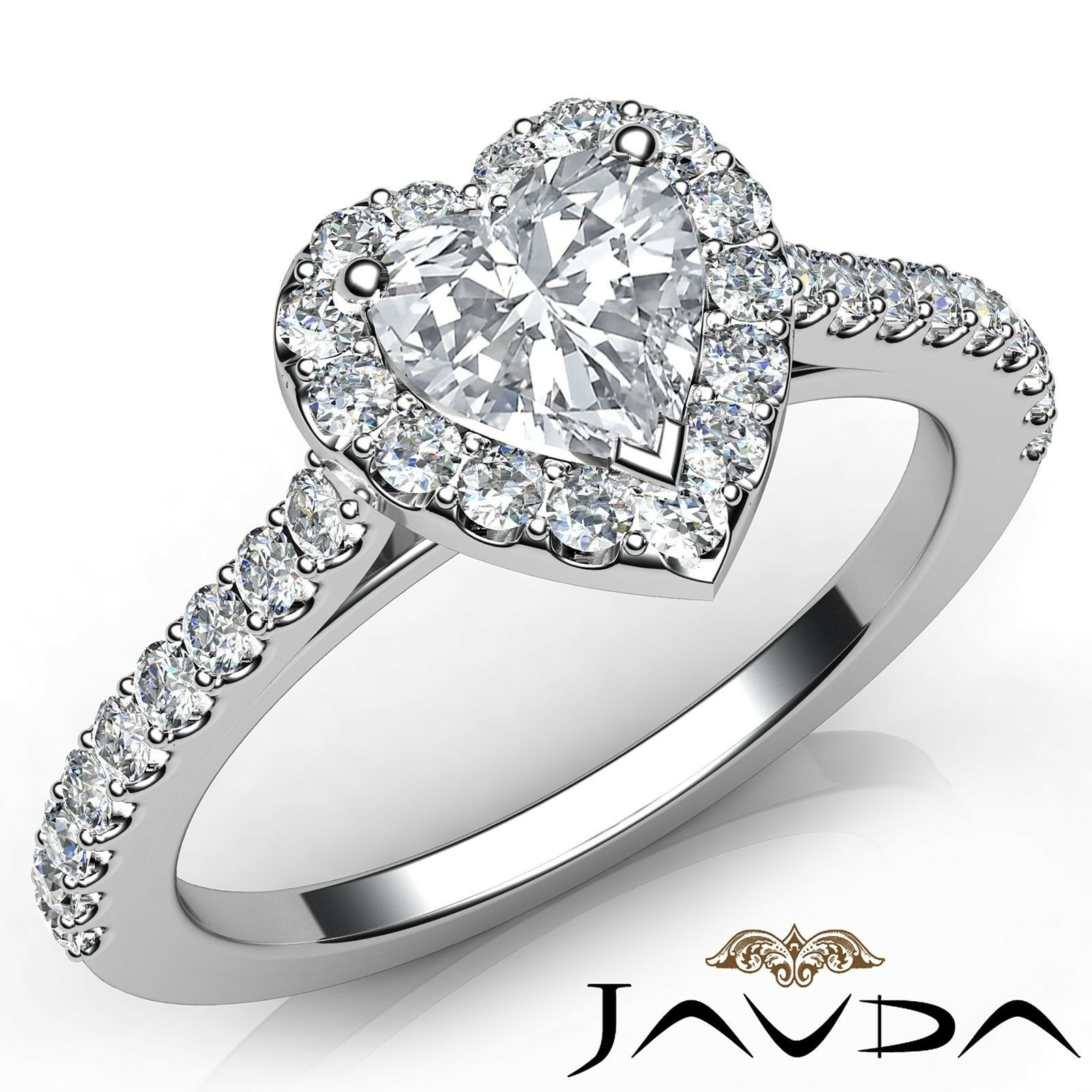 1.25ctw U Cut Prong Set Heart Diamond Engagement Ring GIA G-VS1 White Gold Rings
