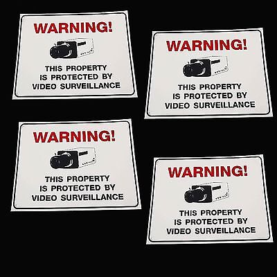 Lot Of Outdoor Surveillance Security Video Cameras Warning Yard Fence Post Signs