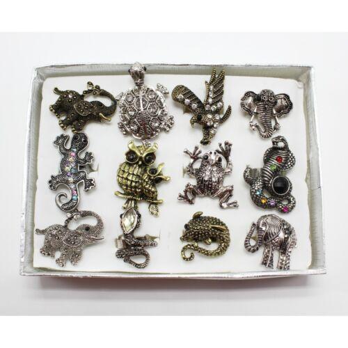 One Dozen New Assorted Animal Rhinestone Adjustable Rings in Display Box