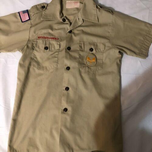 Official BSA Boy Scout tan uniform shirt  Y Large Second Class badge