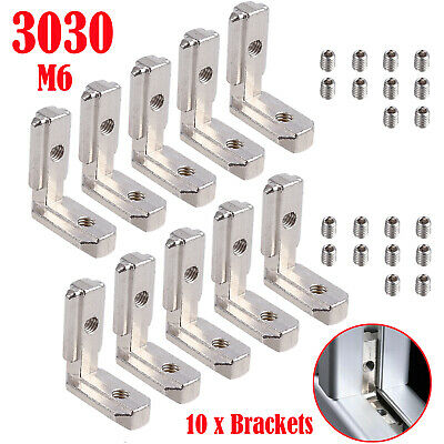 10pcs T Slot Aluminum Profile L-shape Brackets 90interior Corner Connector 3030