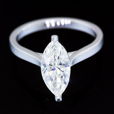 GIA Certified 1.84 carat F VS1 Marquise cut Diamond 14k White Gold Ring 2 ct