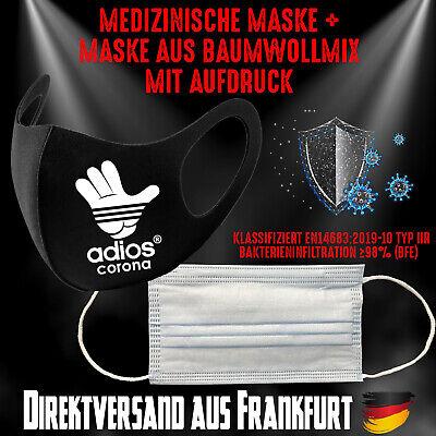 Medizinische Maske Typ IIR + Fashion Mask Mundschutz Mundmaske Adios Corona