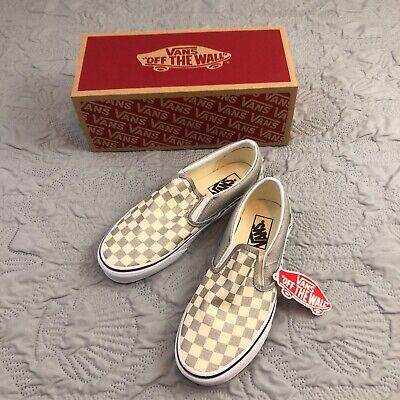 VANS MEN'S CLASSIC SLIP-ON CHECKERBOARD Gray  Mens 7 Women's 8.5