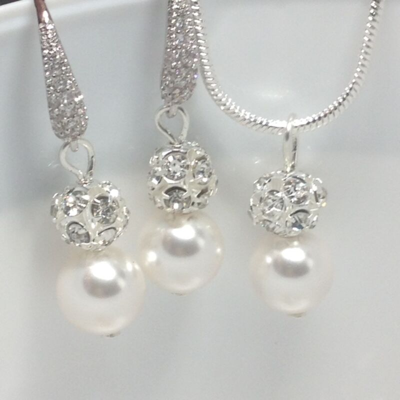 Swarovski White Pearl Bridal Necklace Set Wedding Bridesmaids Gift Jewellery