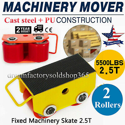 Heavy Duty Machinery Mover W360rotation Cap 5500lbs 2.5t 2 Rollers Dolly Skate