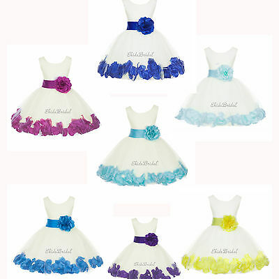 Ivory Flower Girl Dress Rose Petal Purple Pink Black Blue Green Yellow Red - Girls Ivory Dress