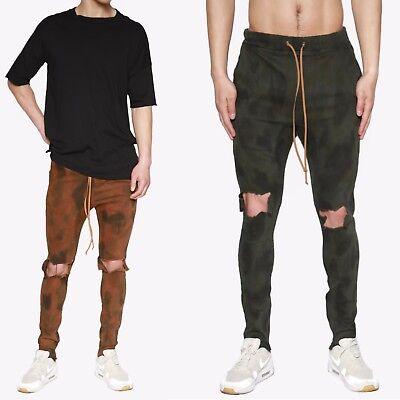 Themogan Herren Tarnung Gefärbt Distressed Skinny Reißverschluss Leg Denim - Gefärbte Skinny Jeans