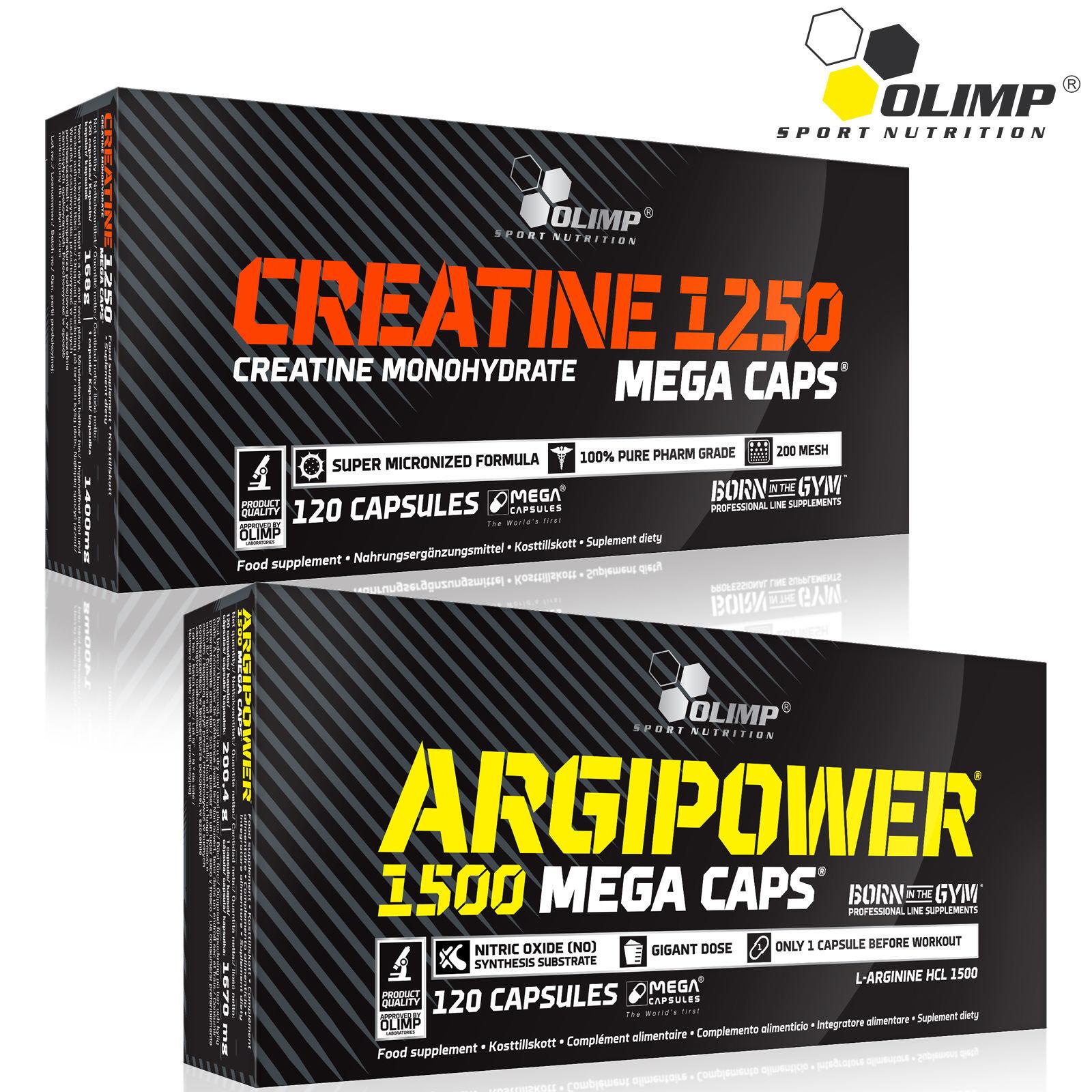 Creatine Monohydrate + Argipower L-Arginine Preworkout Capsules Nitric Oxide  1