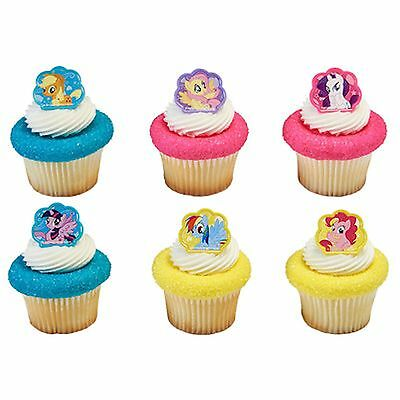 ke Ring Toppers/Favors BIRTHDAY SUPPLIES-NEW (My Little Pony Cupcake Ringe)