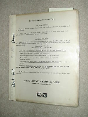Unit Crane Shovel Model 614 Parts Manual Catalog Book Dragline Excavator List