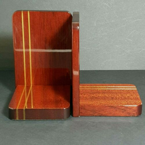 GARRARD Of London Art Deco Style Lacquered Wood & Brass Inlay Bookends
